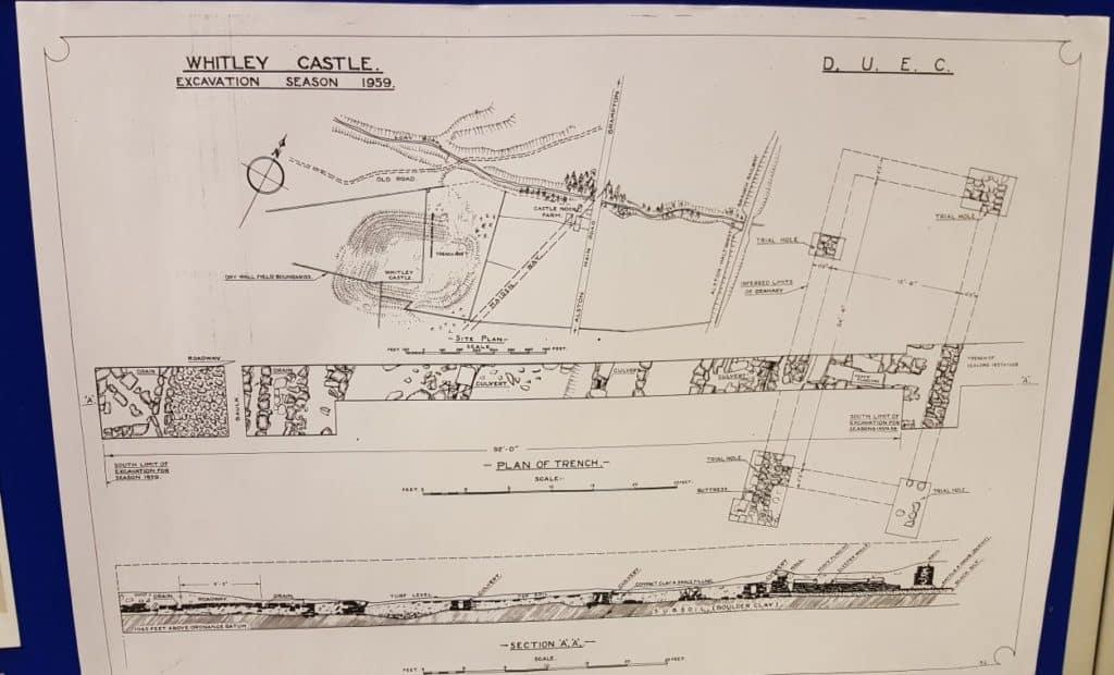 Ink drawing of 1957 Epiacum excavations
